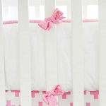 Pink & White Crib Bumper  |  Uptown in Hot Pink Crib Collection
