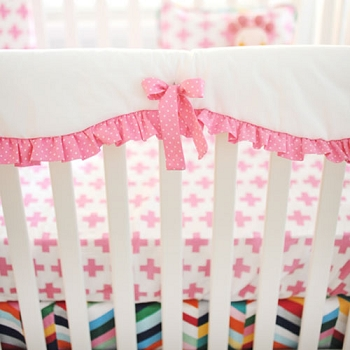 Pink and White Crib Rail Guard Only |  Uptown in Hot Pink Collection