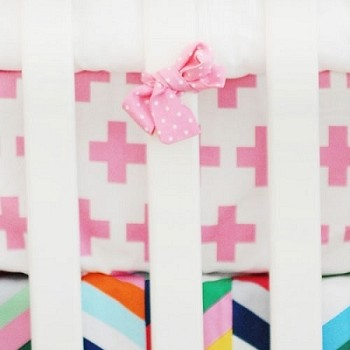 Pink Swiss Cross Crib Sheet  |  Uptown in Hot Pink Crib Collection