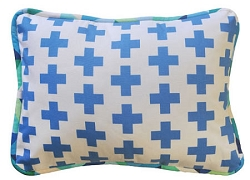 Blue Swiss Cross Throw Pillow | Uptown in Blue Crib Collection