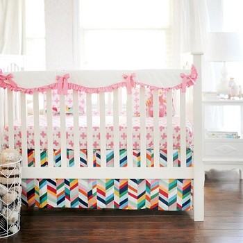 Pink & White Crib Rail Cover  |  Uptown in Hot Pink Crib Collection