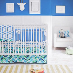 Blue Modern Baby Bedding  |  Uptown in Blue Crib Collection