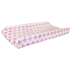 Pink Swiss Cross Changing Pad Cover | Uptown in Hot Pink Crib Collection