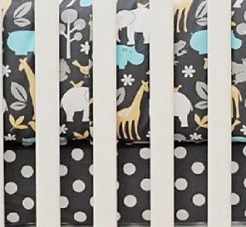 Gray Polka Dot Crib Sheets  |  Urban Zoo Crib Collection