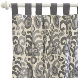 Gray Ikat Curtain Panels  |  Urban Ikat in Gray Crib Collection