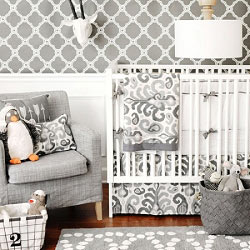 Gray Ikat Baby Bedding  |  Urban Ikat in Gray Crib Collection