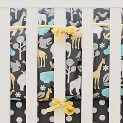 Jungle Animal Crib Bumper  |  Urban Zoo Crib Collection