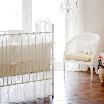White Velvet Baby Bedding | Velvet Baby in Ivory Collection
