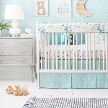 Blue Transportation Baby Bedding | On My Way Vroom Collection