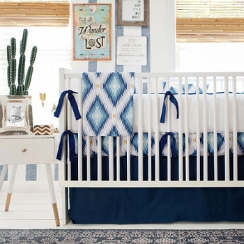 Boy Aztec Crib Bedding | Wander in Blue Crib Collection