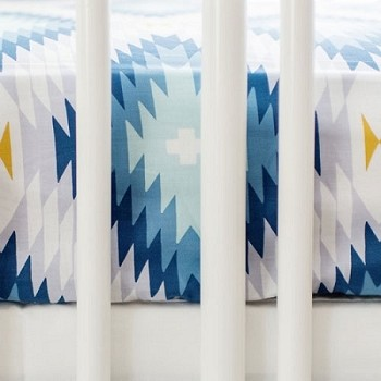 Blue Aztec Crib Sheet | Wander in Blue Crib Collection