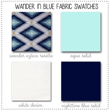 Wander in Blue Crib Collection Fabric Swatches Only