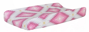 Pink Aztec Changing Pad Cover  |  Wander in Pink Crib Collection