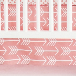 Coral Arrow Crib Skirt | Wanderlust in Coral Crib Collection