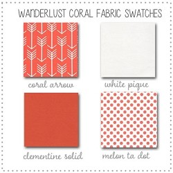 Wanderlust in Coral Crib Bedding Collection Fabric Swatches Only