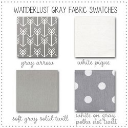 Wanderlust in Gray Arrow Baby Bedding Collection Fabric Swatches Only