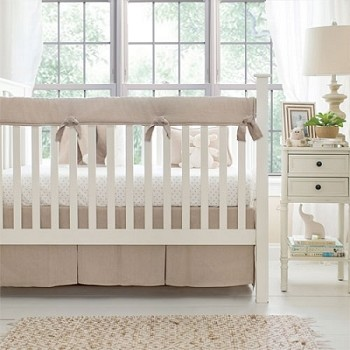 Linen Crib Rail Cover Set | Washed Linen in Flax Crib Collection