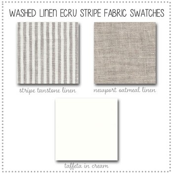 Washed Linen in Ecru Stripe Bedding Collection Fabric Swatches Only