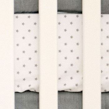Gray Star Crib Sheet |  Washed Linen in Gray Crib Collection