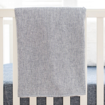 Blue Linen Baby Blanket | Washed Linen Indigo Stripe Collection
