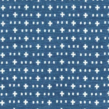 Teal Blue Swiss Cross Fabric | Michael Miller Weave It Alone Blue