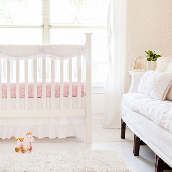 White Crib Rail Guard Set | White Bumperless Crib Collection