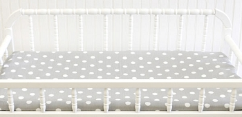 White on Gray Polka Dot Changing Pad Cover