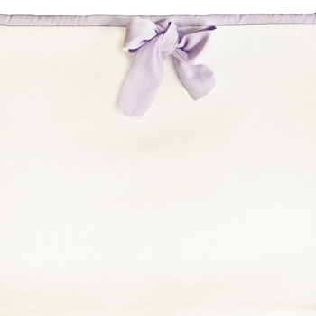 White Crib Bumper with Lavender Trim