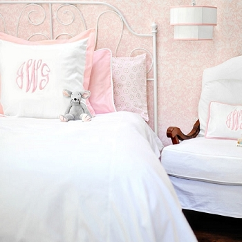 White Pique Duvet with Pink Cording | Full/Queen Size