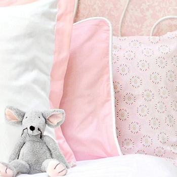 Pink Pillow Sham with White Cording