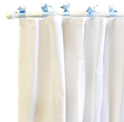 White Pique Curtain Panels in Blue