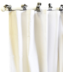 White Pique Curtain Panels in Gray