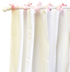 White Pique Curtain Panels in Pink On Sale