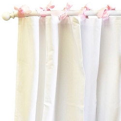 White Curtains | White Pique in Pink Crib Collection