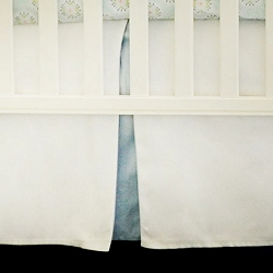 White Crib Skirt with Blue Pleat