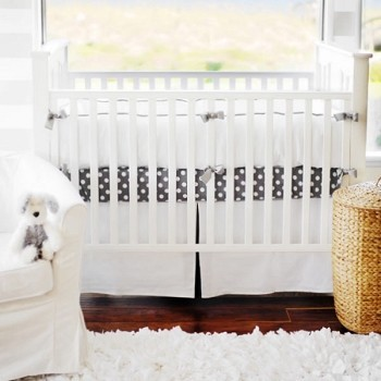 White & Gray Baby Bedding | White Pique Crib Collection