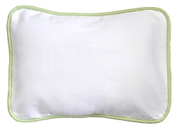 White Pique Throw Pillow with Green Cording