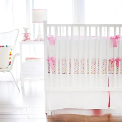 White and Hot Pink Baby Bedding | White Pique Crib Collection