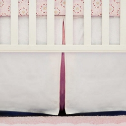 White Crib Skirt with Pink Pleat