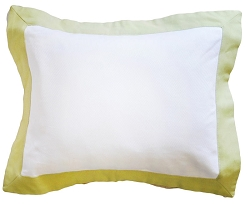 White Pique Throw Pillow with Green Flange