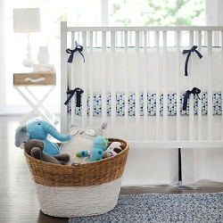 White and Navy Baby Bedding | White Pique Crib Collection