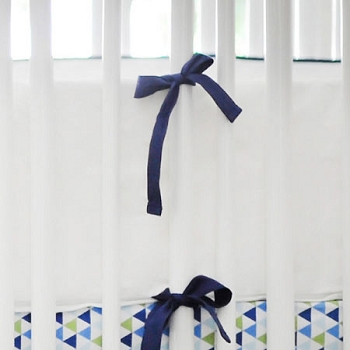 White Pique Crib Bumper with Navy Trim