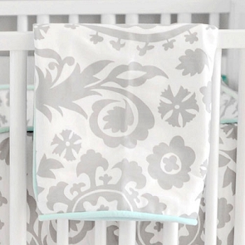Aqua & Gray Crib Blanket  |  Wink Crib Collection