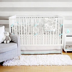 Aqua & Gray Baby Bedding  |  Wink Crib Collection