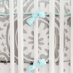 Aqua & Gray Crib Bumper | Wink Crib Collection