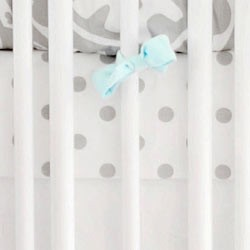 White & Gray Polka Dot Crib Sheet  |  Wink Crib Collection