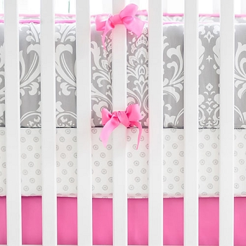 Grey and Hot Pink Damask Baby Bedding | Wisteria Collection