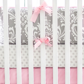 Grey and Pink Damask Baby Bedding | Wisteria Collection