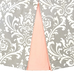 Gray Damask Crib Skirt with Pink Pleats