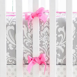 Gray and Hot Pink Damask Baby Bedding | Wisteria Crib Collection